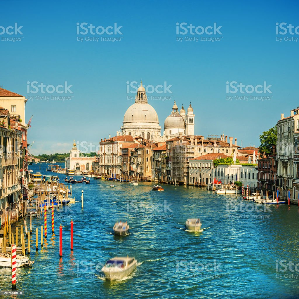 Grand Canal and Basilica in Venice, Italy stock photo