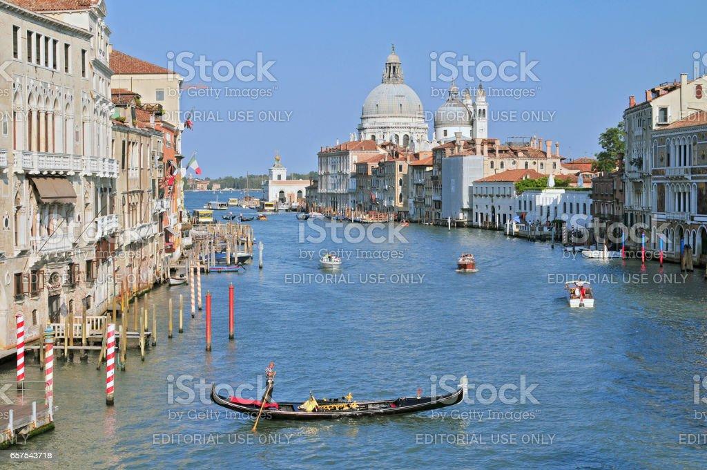 Grand Canal and Basilica Santa Maria della Salute. stock photo