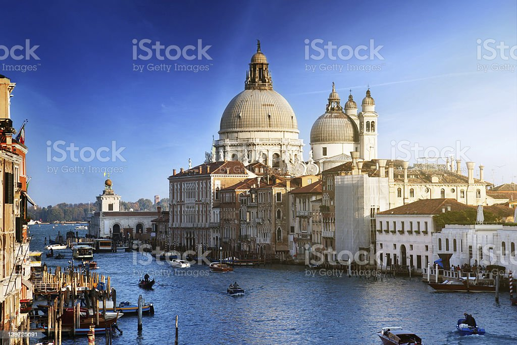 Grand Canal and Basilica Santa Maria della Salute, Venice, Italy royalty-free stock photo