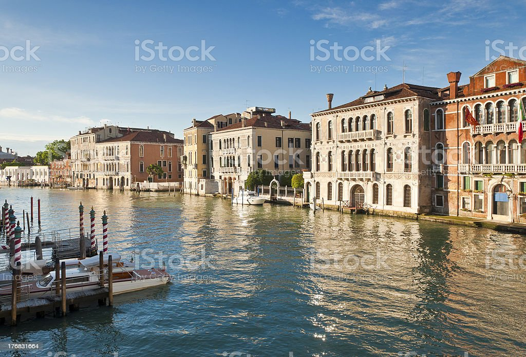 Grand Canal and colourful villas, Venice royalty-free stock photo
