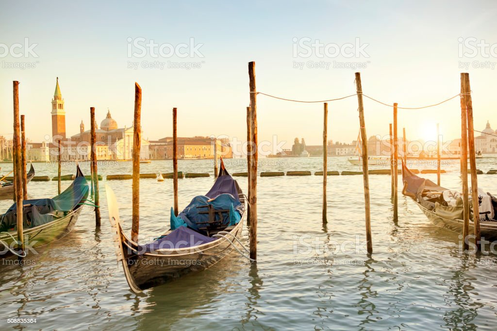 Grand Canal and gondolas in the afternoon stock photo