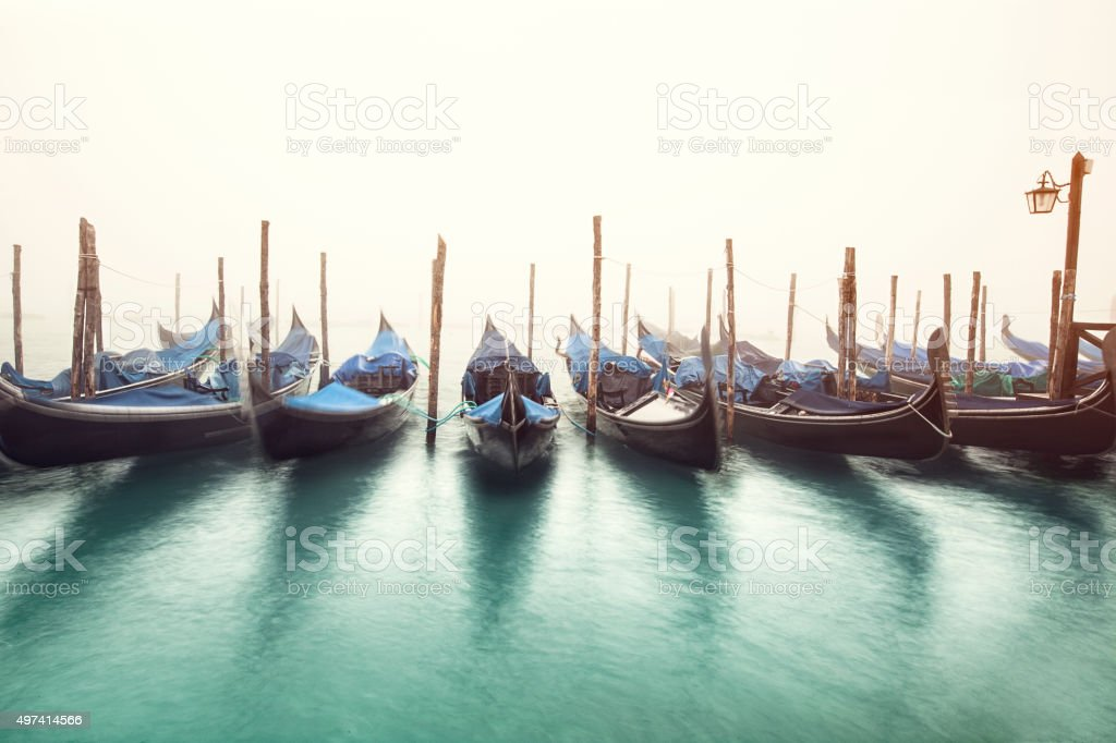 Grand Canal and gondolas in the morning stock photo