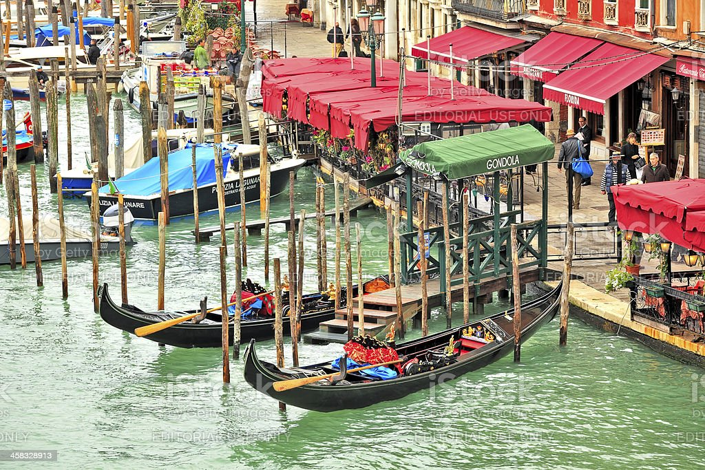 Grand canal and promenade with restaurants in Venice, Italy. royalty-free stock photo