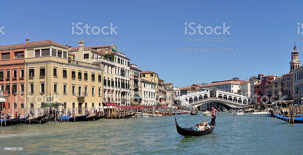 Grand canal and Rialto bridge Venice Italy stock photo