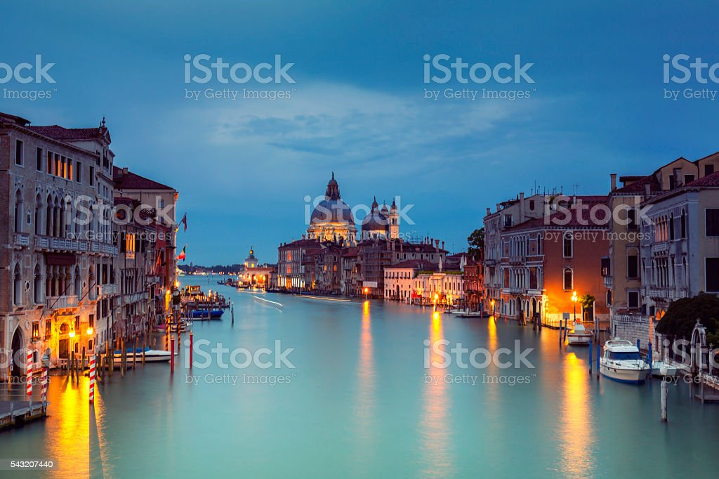 Grand Canal and Santa Maria della Salute at dusk stock photo