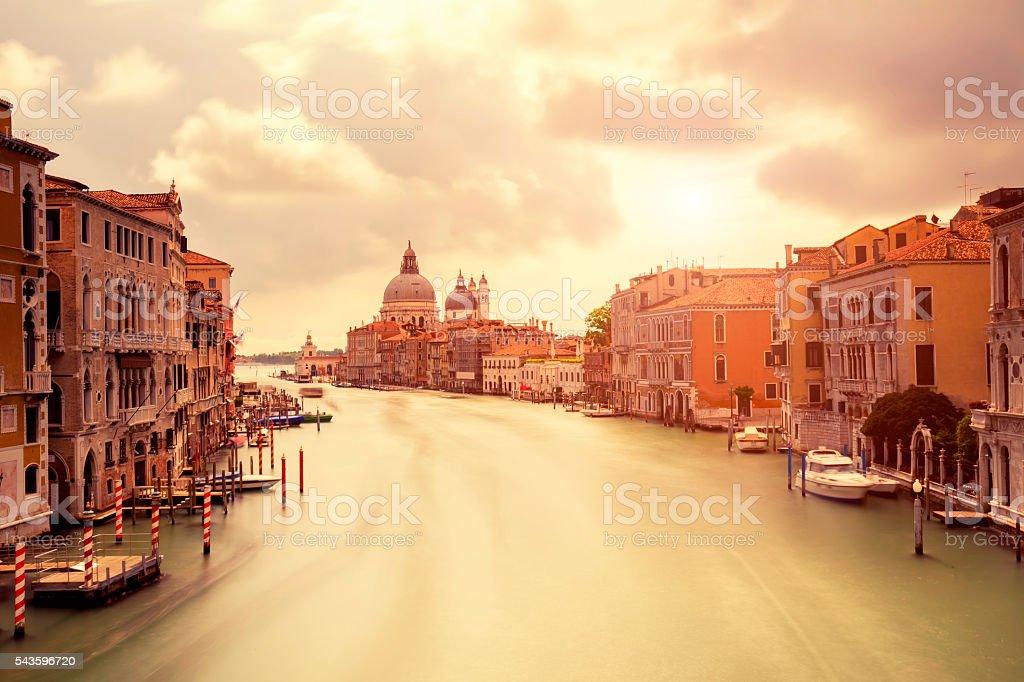 Grand Canal and Santa Maria della Salute at sunset stock photo