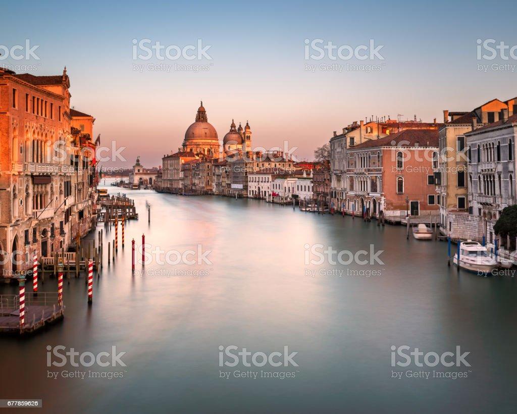 Grand Canal and Santa Maria della Salute Church from Accademia Bridge Venice, Italy stock photo