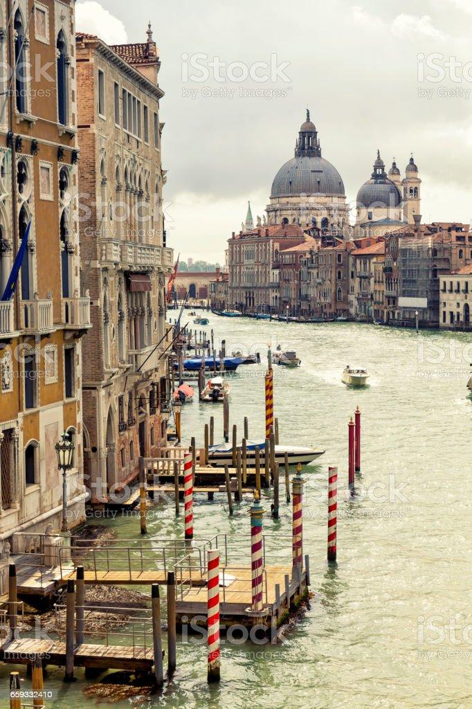 Grand Canal and Santa Maria della Salute church stock photo