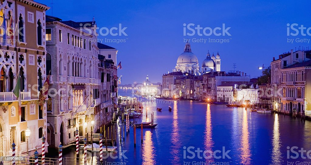 Grand Canal and Santa Maria della Salute Church Venice Italy stock photo
