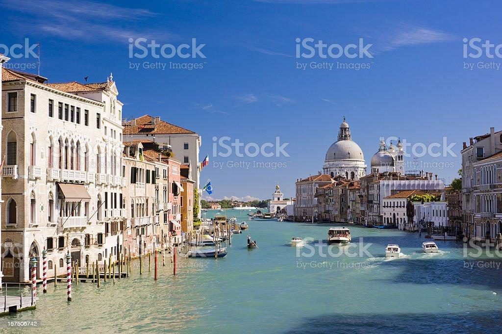 Grand Canal and Santa Maria della Salute Church Venice Italy stock photo