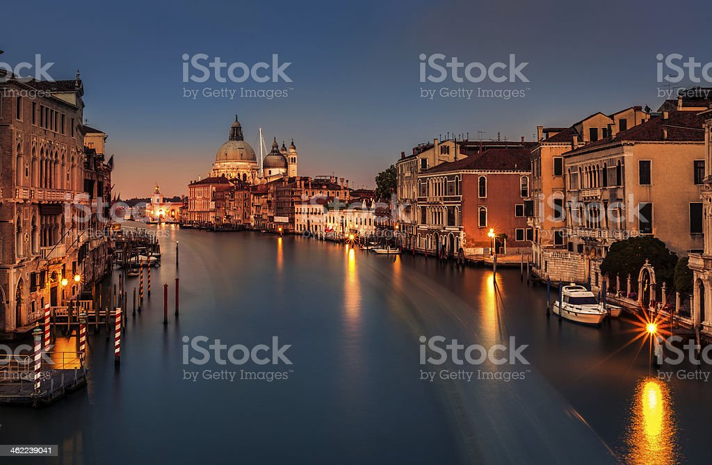 Grand Canal at dusk in Venice, Italy royalty-free stock photo