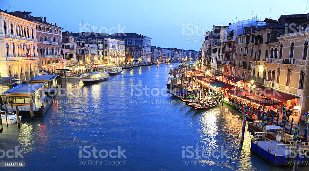 Grand Canal (Canale Grande) at dusk, Venice, Italy royalty-free stock photo