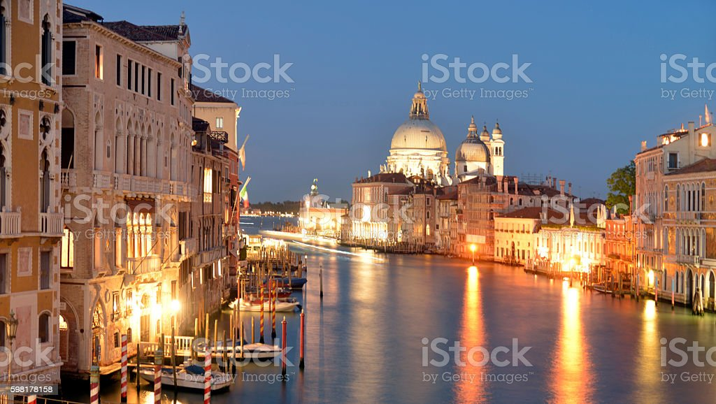 Grand canal at night time. Venice Italy. stock photo