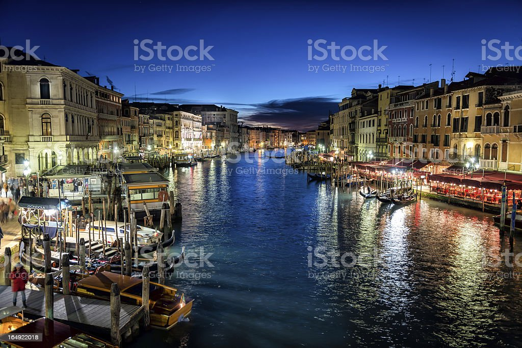 Grand Canal at Night, Venice royalty-free stock photo