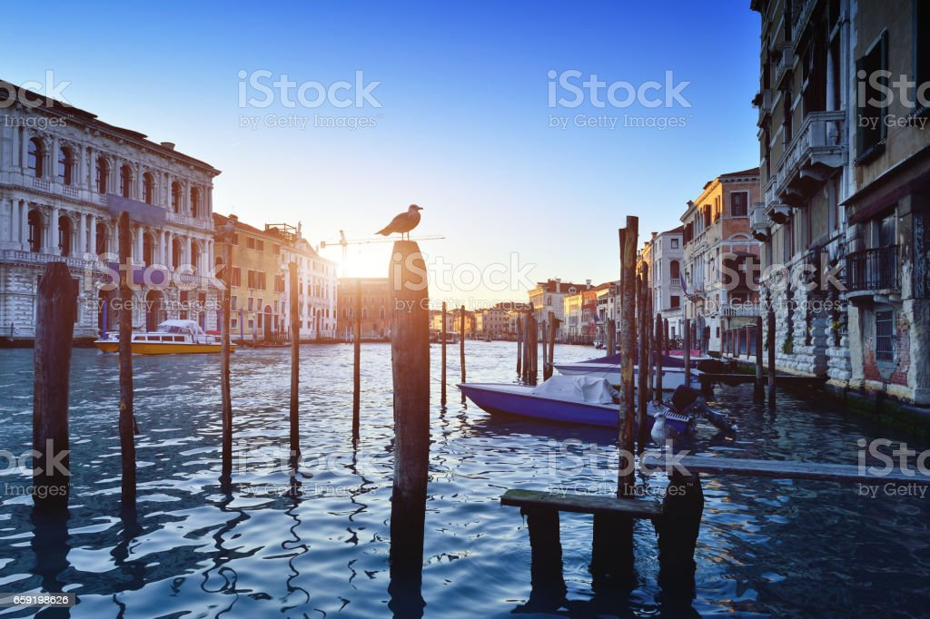Grand Canal at Sunrise, Venice, Italy stock photo