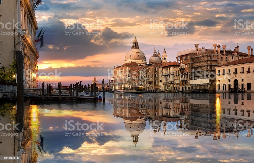 Grand Canal at sunset stock photo