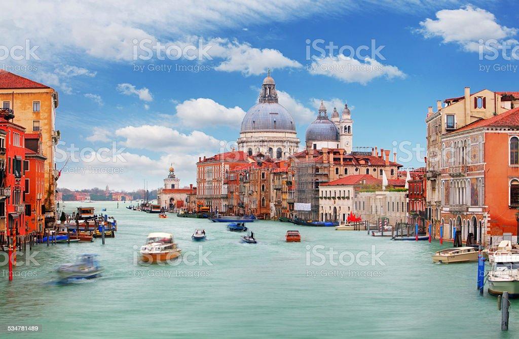 Canal Grande, Basilica di Santa Maria della Salute,Venice stock photo