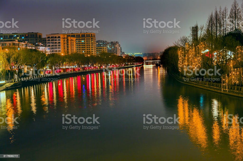 Grand Canal Buildings NIght Reflection Hangzhou Zhejiang China stock photo