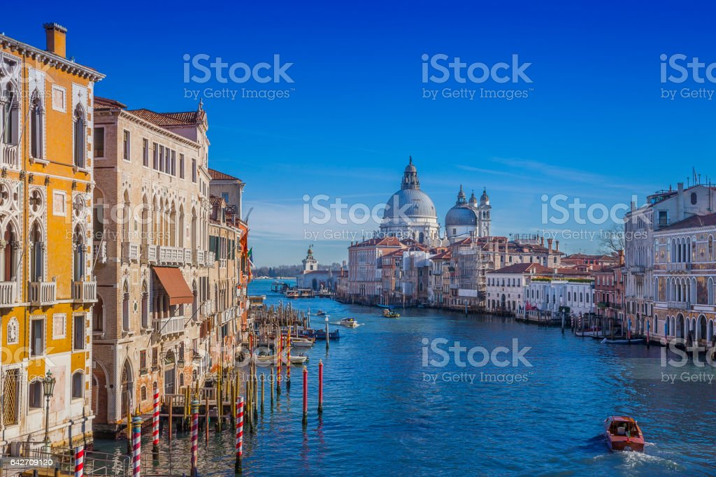 Grand Canal By Santa Maria Della Salute in Venice, Italy stock photo