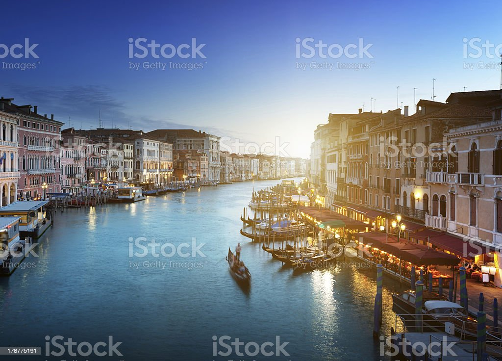 Grand Canal in sunset time, Venice, Italy royalty-free stock photo
