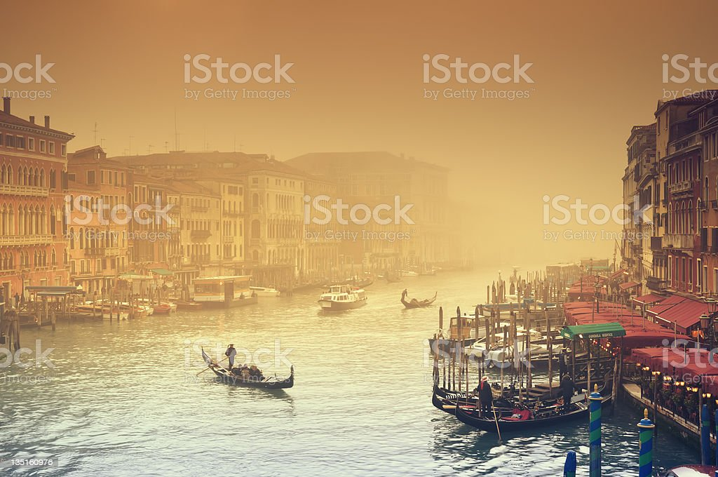 Grand Canal in thick fog, Venice - Italy royalty-free stock photo