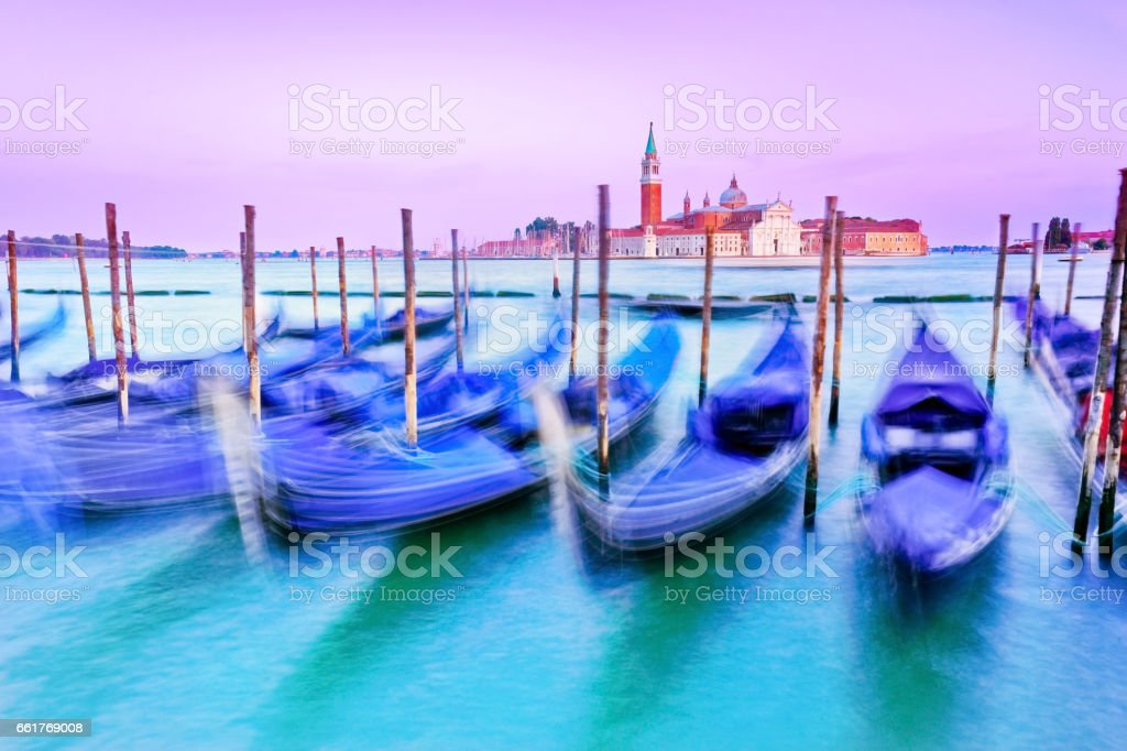 Grand Canal in Venice at dusk stock photo