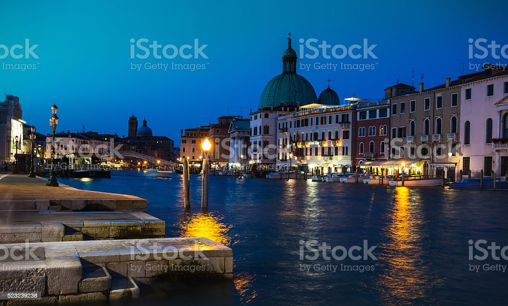 Grand Canal in Venice at night stock photo