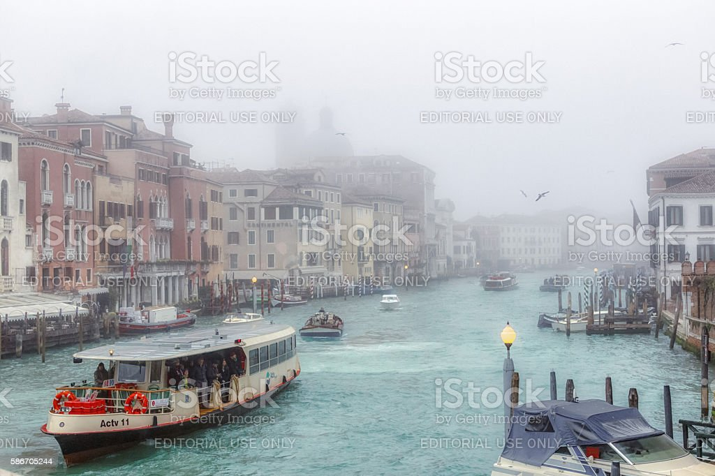 Grand Canal in Venice in Fog stock photo