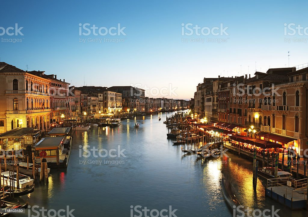 Grand Canal in Venice, Italy at dusk stock photo