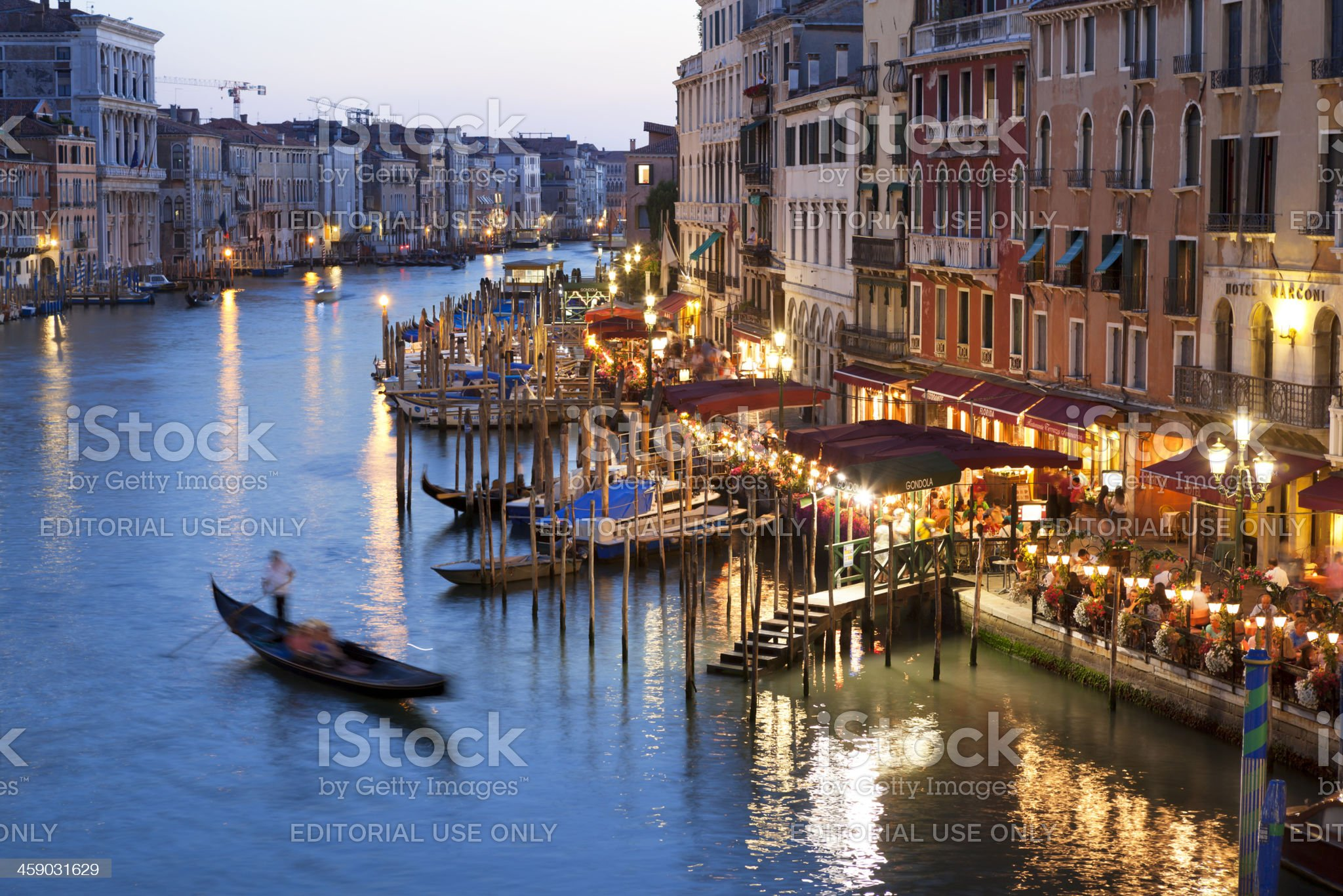 Grand Canal in Venice Italy at night royalty-free stock photo