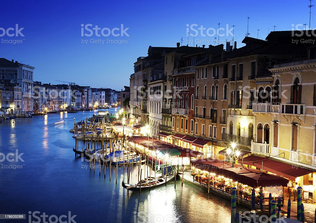 Grand Canal in Venice, Italy at sunset royalty-free stock photo