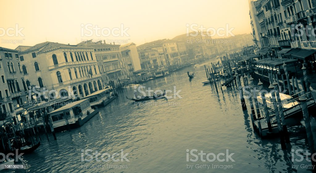 Grand Canal in Venice, Sepia Toned royalty-free stock photo