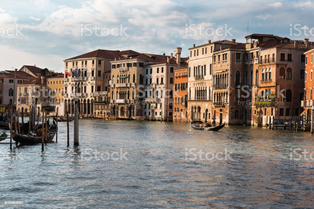 Grand Canal in Venice with Gondole, Facades and Boats - Italy stock photo