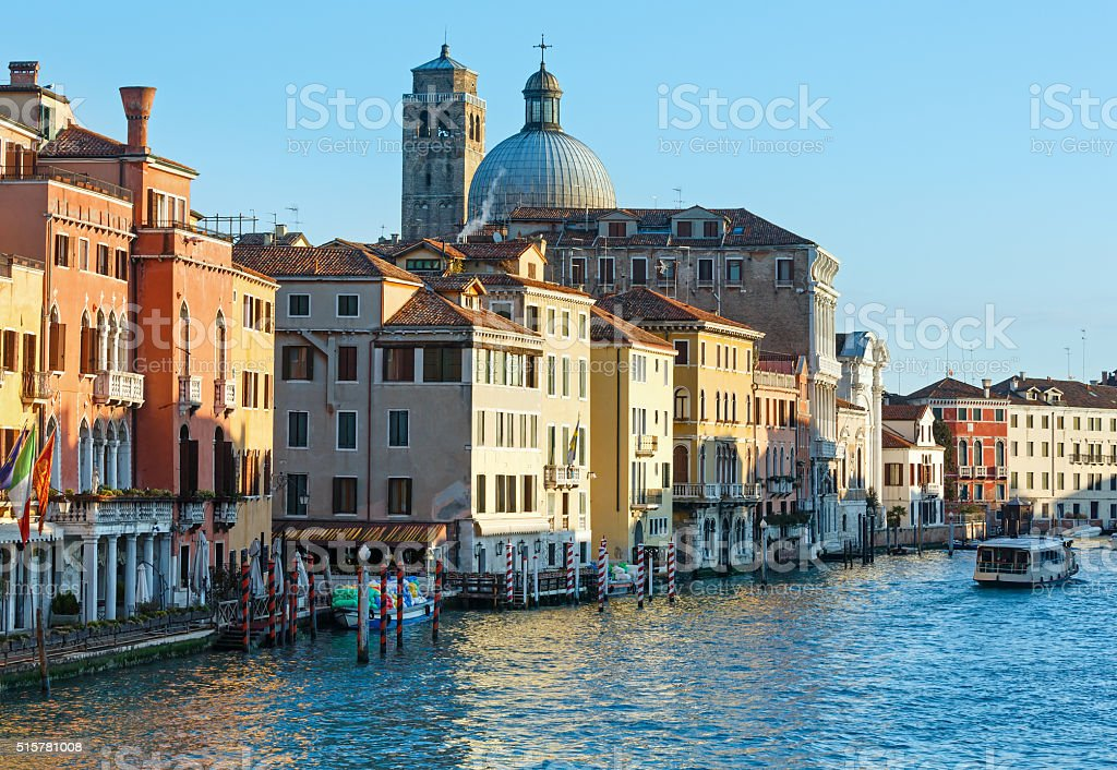 Grand Canal morning view. Venice, Italy. stock photo