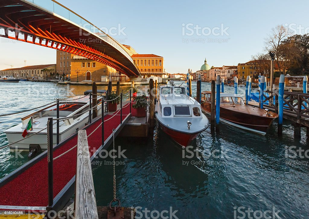 Grand Canal morning view, Venice, Italy. stock photo