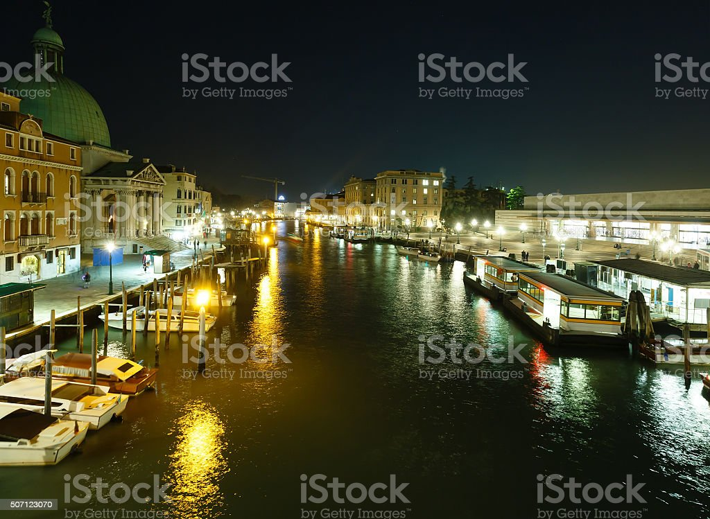 Grand Canal night view. Venice, Italy. stock photo