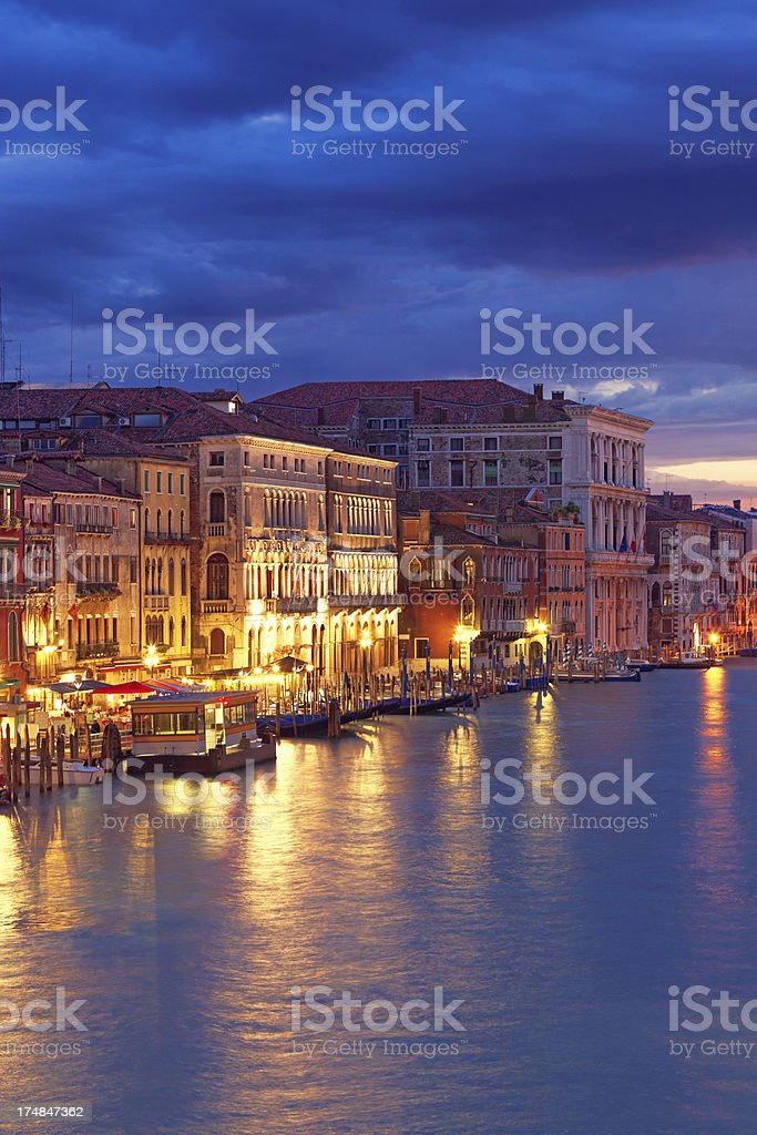 Grand Canal of Venice at night royalty-free stock photo