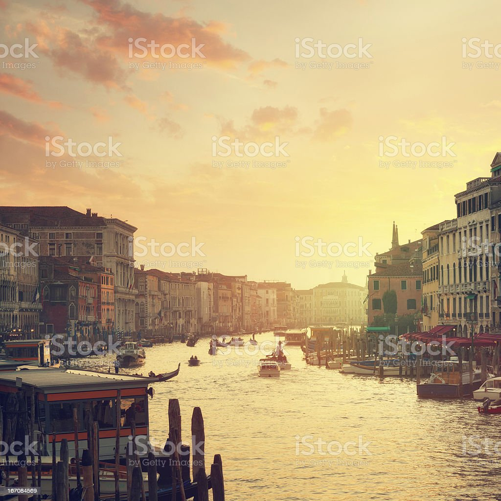 Grand Canal of Venice at sunset stock photo