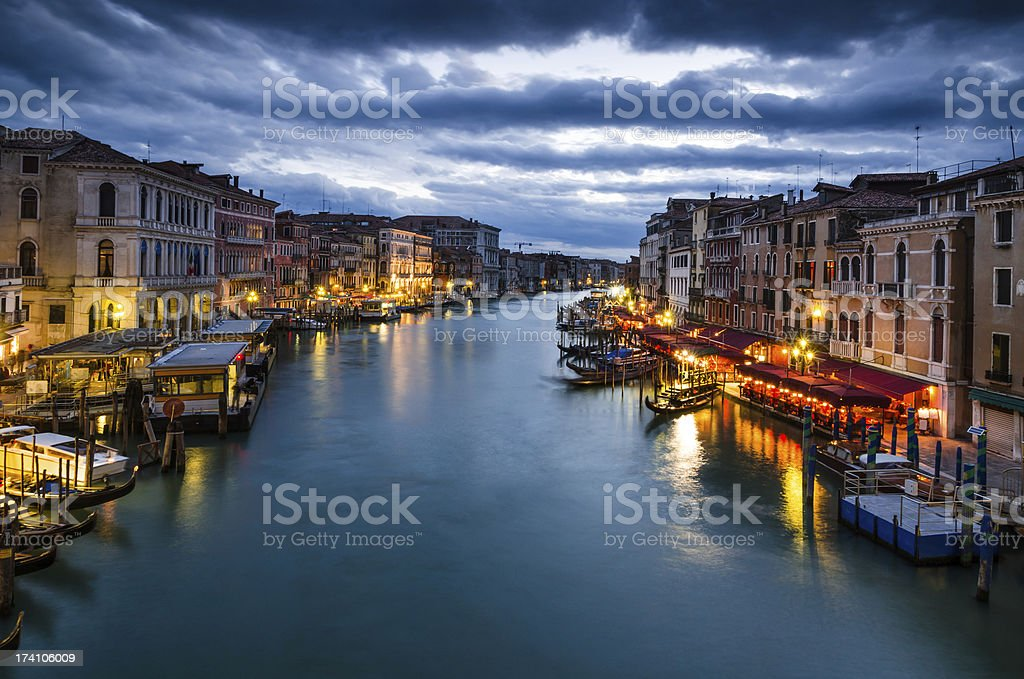 Grand Canal of Venice by night, Italy royalty-free stock photo