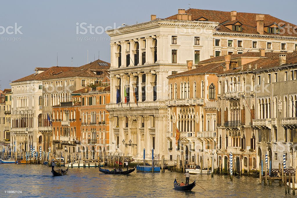 Grand Canal of Venice with gondolas and palazzos royalty-free stock photo