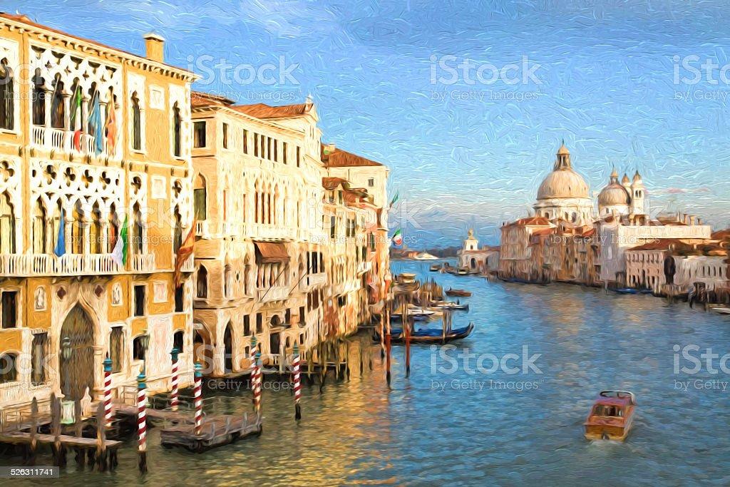 Grand Canal palaces with Santa Maria della Salute, Venice, Italy stock photo