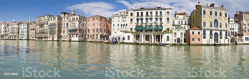 Grand Canal palazzo hotels villas reflected panorama Venice Italy royalty-free stock photo