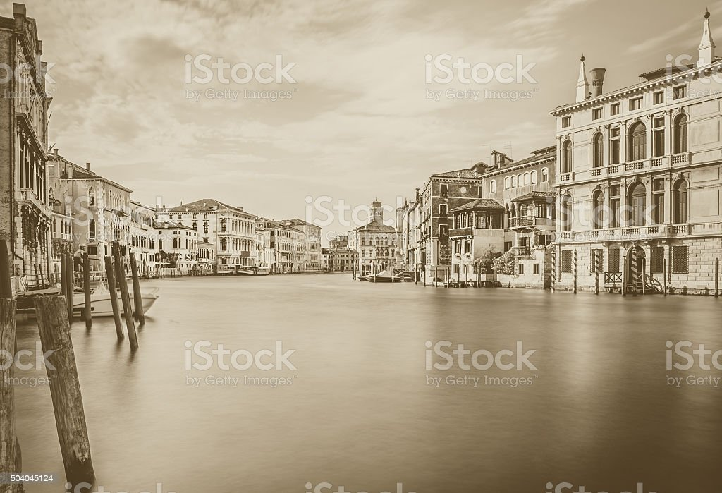 Grand Canal scene in b&w, Venice stock photo