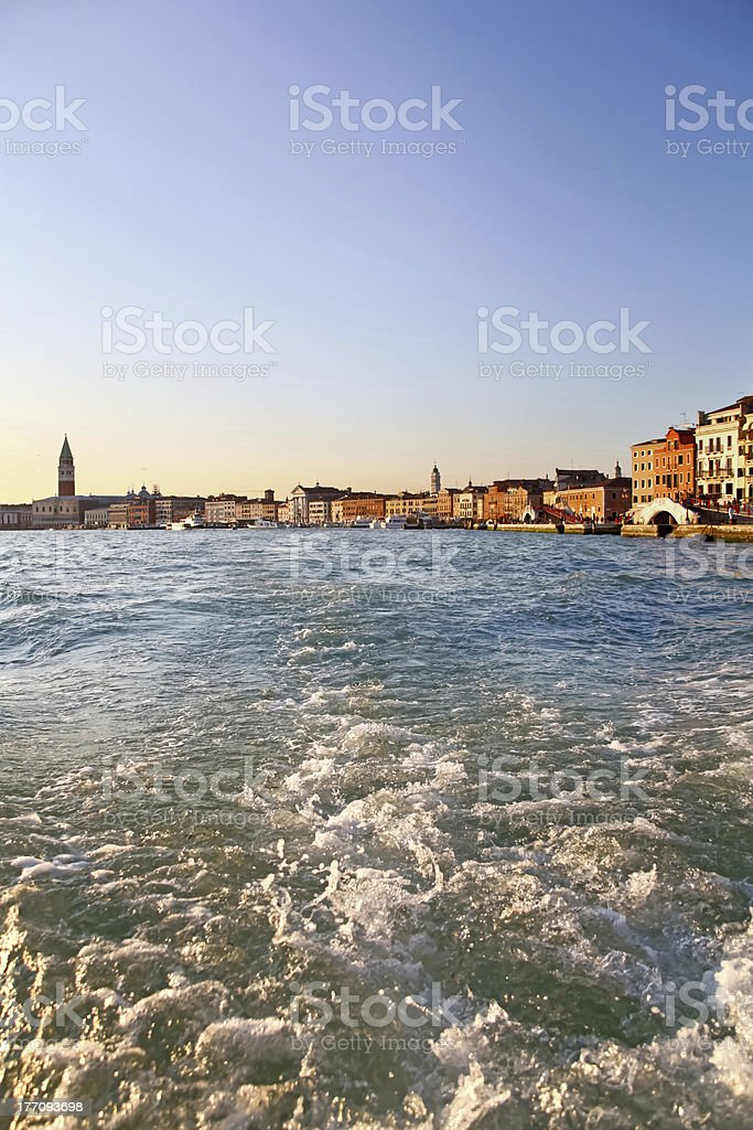 Grand Canal, view from vaporetto in Venice stock photo
