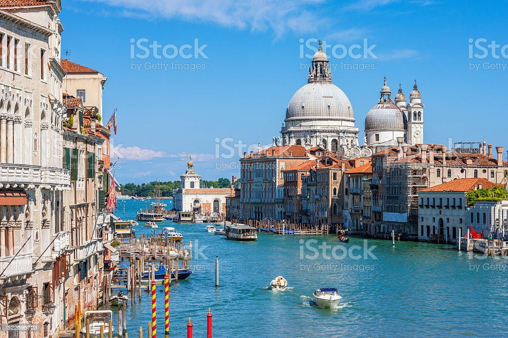 Canal Grande with Basilica di Santa Maria della Salute stock photo