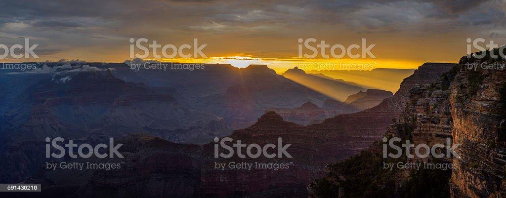 Grand Canyon at dawn Panorama stock photo