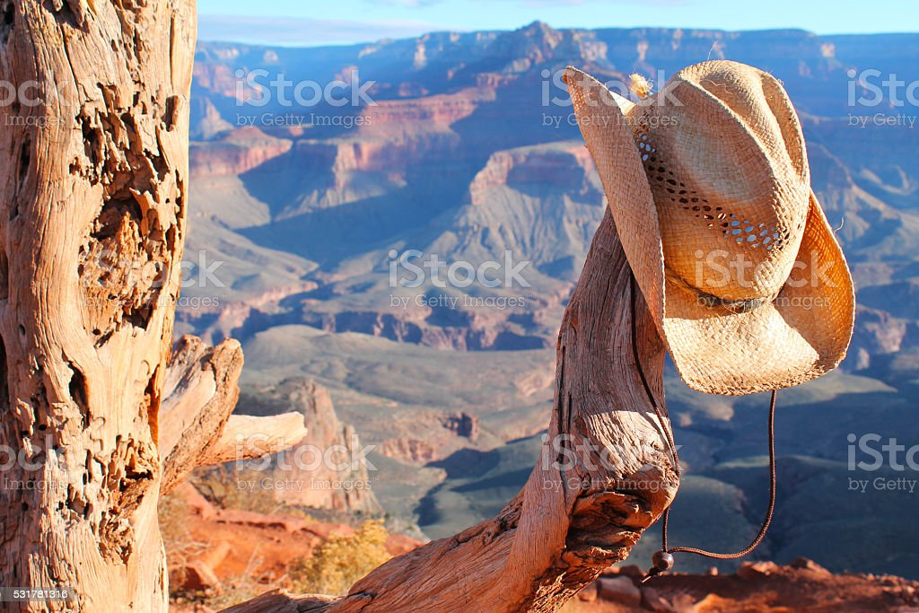 Grand Canyon Cowboy stock photo