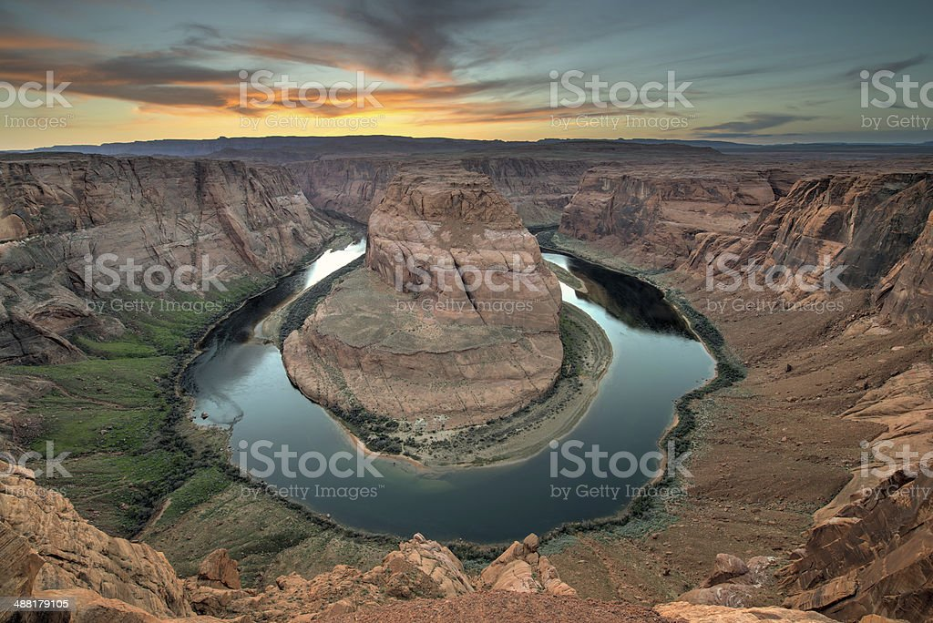 Grand Canyon Horseshoe Bend Sunset Clouds royalty-free stock photo