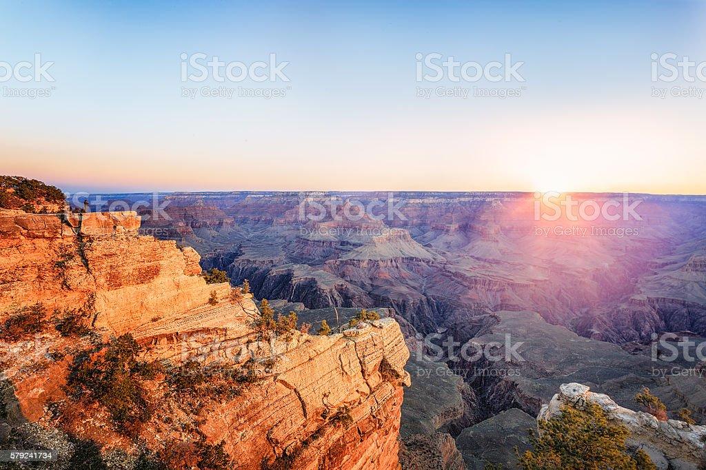 Grand Canyon National Park at sunset stock photo