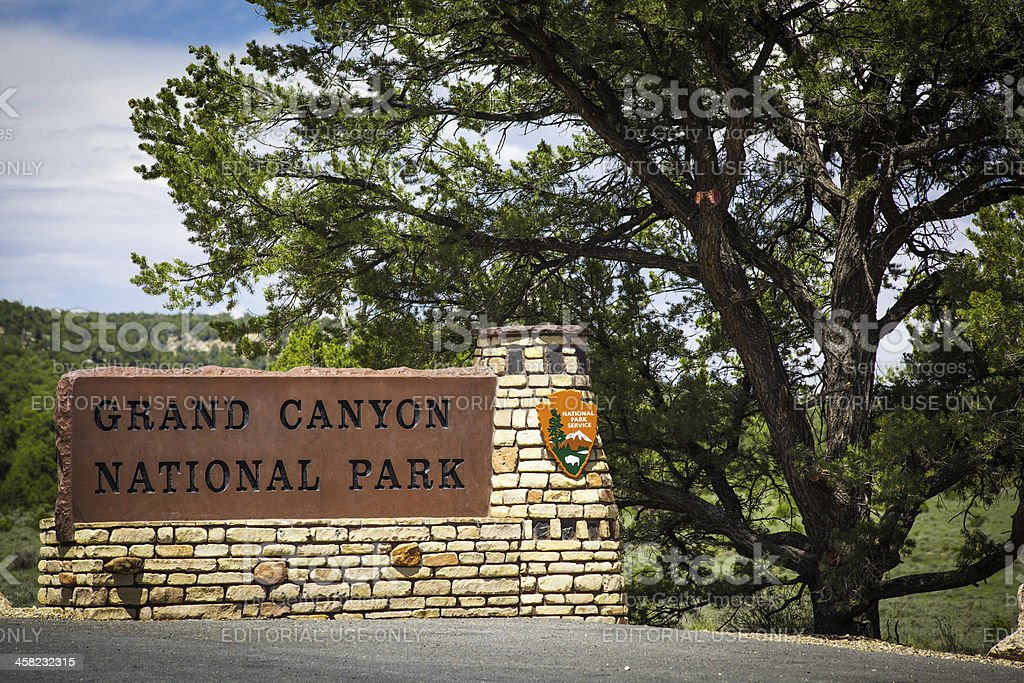 Grand Canyon National Park Sign stock photo